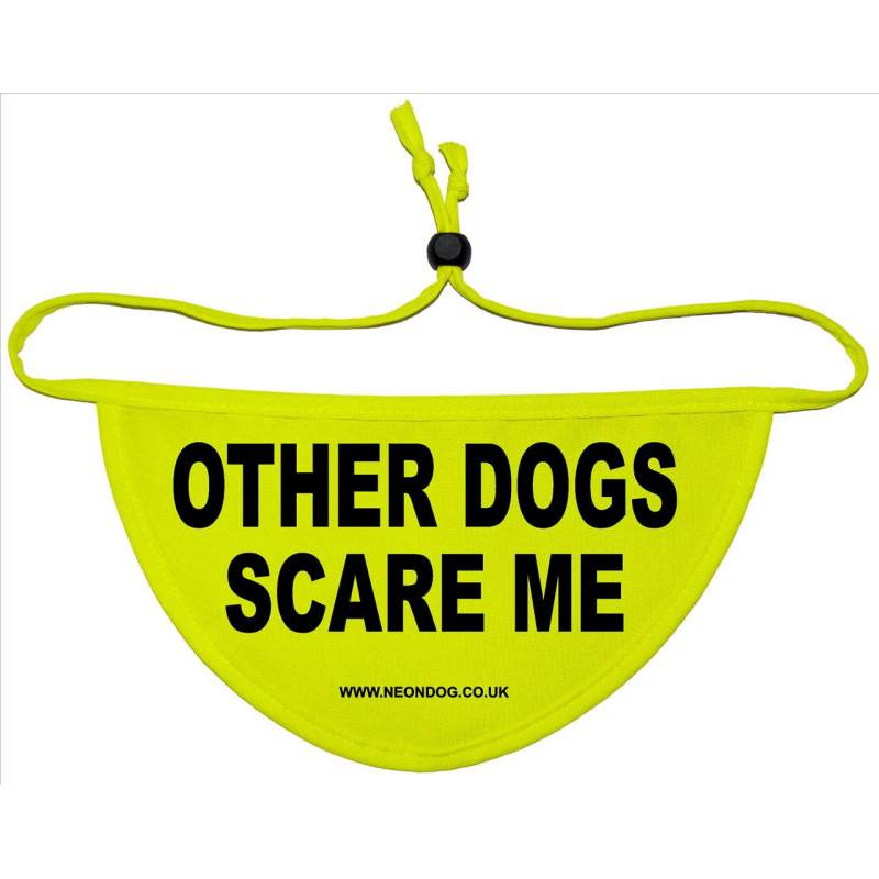 Other Dogs Scare Me - Fluorescent Neon Yellow Dog Bandana