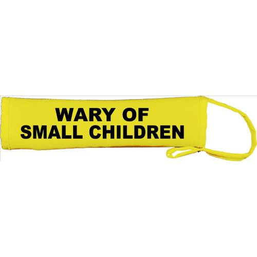 WARY OF SMALL CHILDREN - Fluorescent Neon Yellow Dog Lead Slip