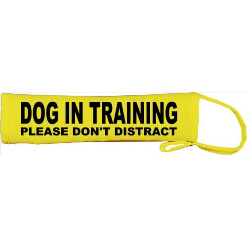 Dog In Training Please don't distract - Fluorescent Neon Yellow Dog Lead Slip