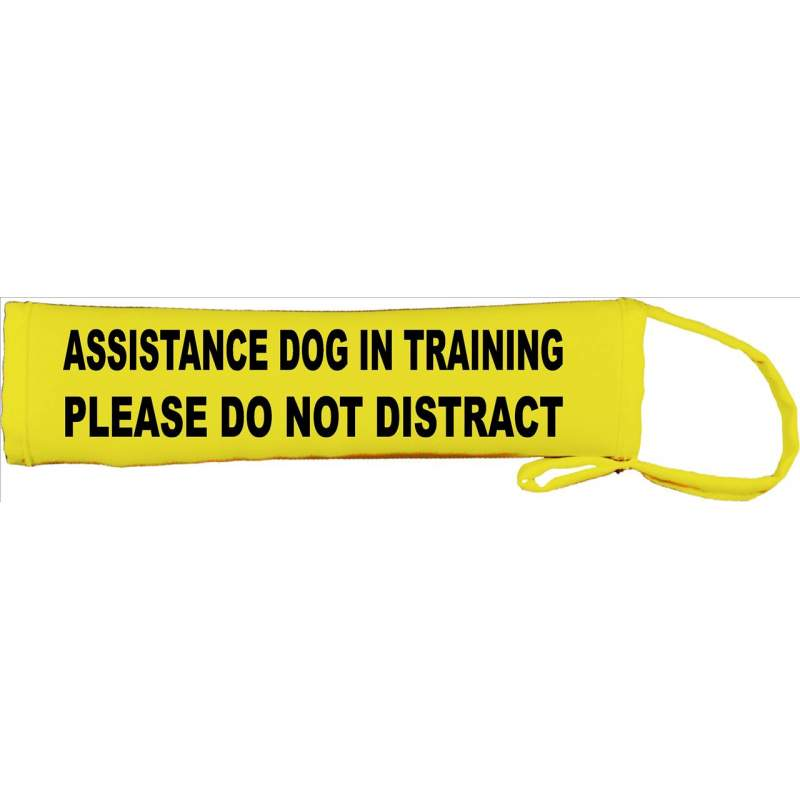 Assistance dog in Training - please do not Distract - Fluorescent Neon Yellow Dog Lead Slip