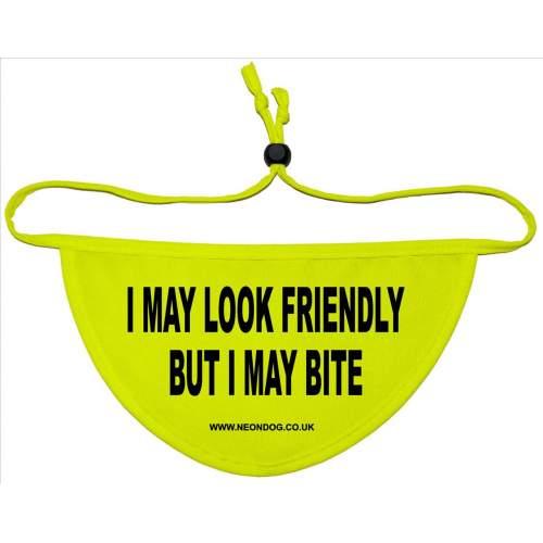 I May Look Friendly But I May Bite - Fluorescent Neon Yellow Dog Bandana