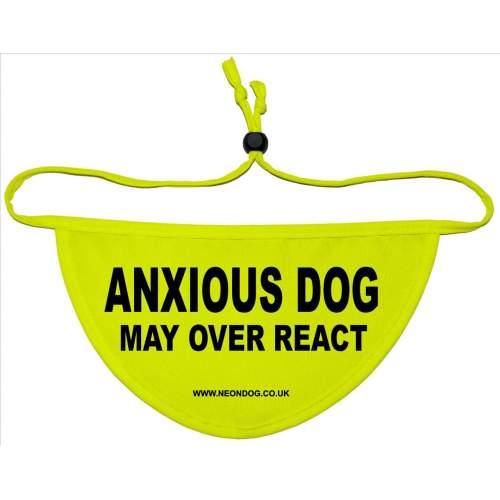 Anxious Dog May Over react - Fluorescent Neon Yellow Dog Bandana
