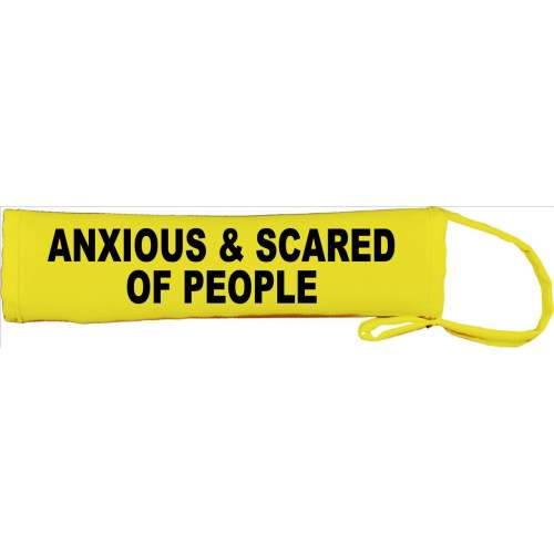 Anxious & Scared Of People - Fluorescent Neon Yellow Dog Lead Slip