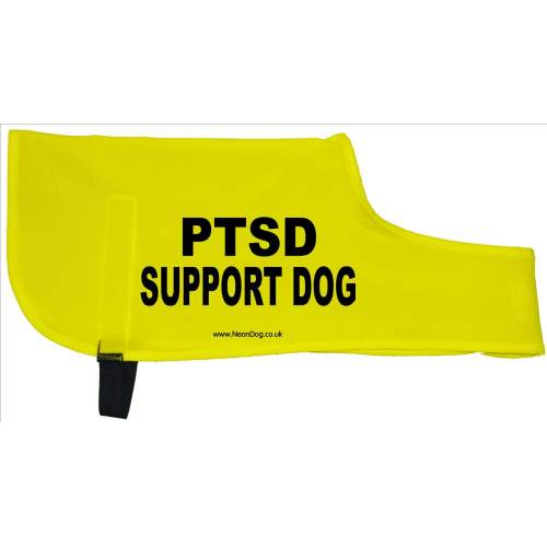 PTSD Support Dog - Fluorescent Neon Yellow Dog Coat Jacket