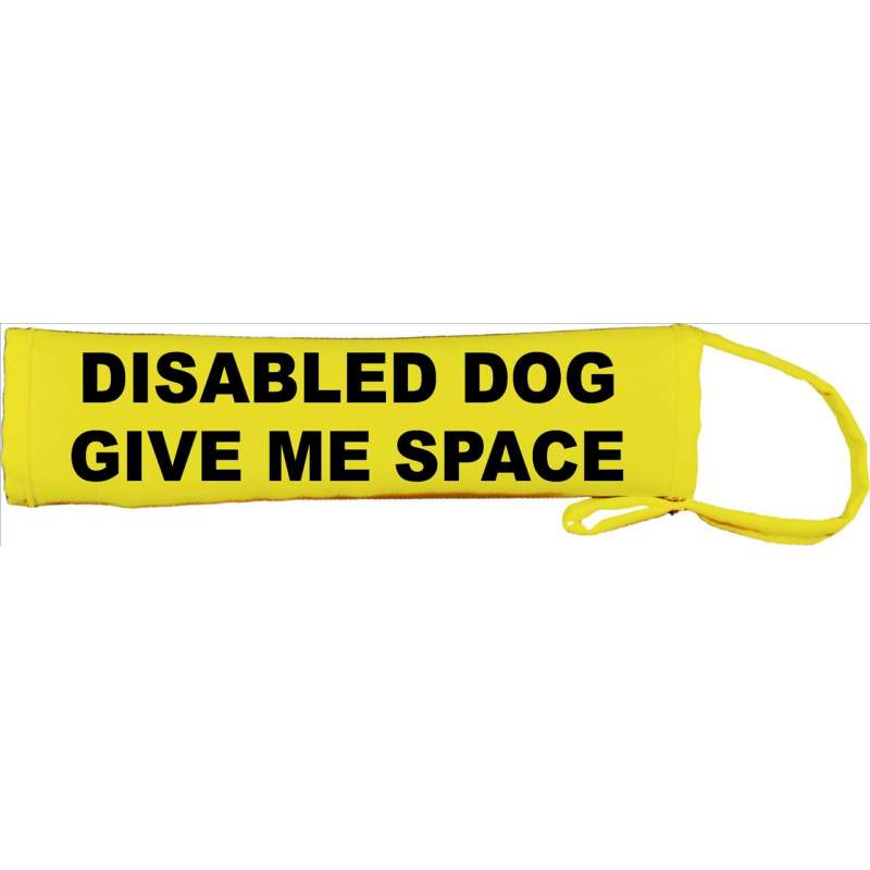 Disabled dog - give me space - Fluorescent Neon Yellow Dog Lead Slip