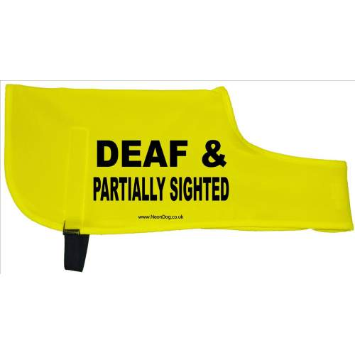 DEAF & PARTIALLY SIGHTED - Fluorescent Neon Yellow Dog Coat Jacket