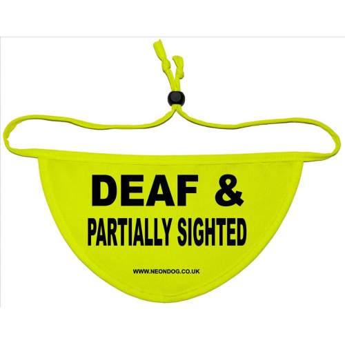DEAF & PARTIALLY SIGHTED - Fluorescent Neon Yellow Dog Bandana