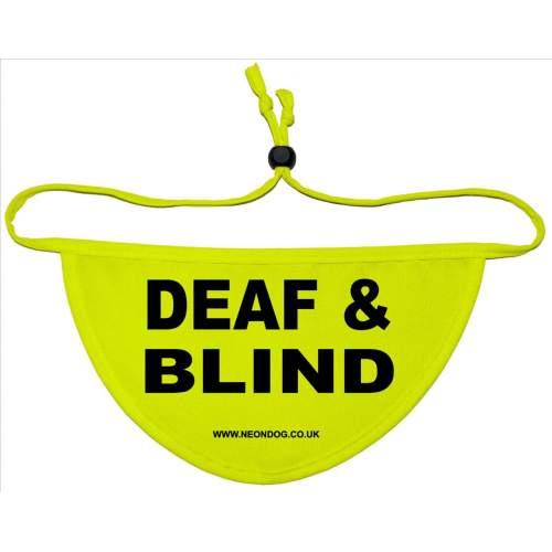 DEAF & BLIND- Fluorescent Neon Yellow Dog Bandana