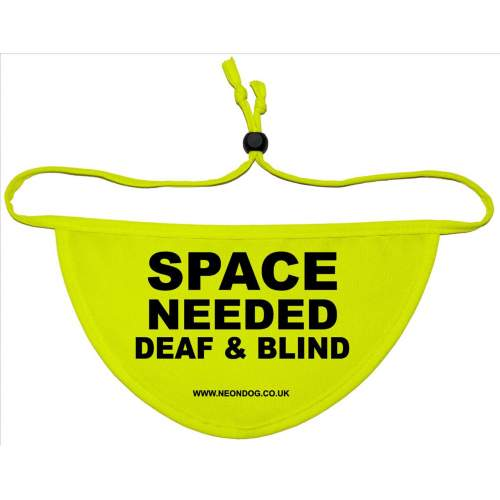 SPACE NEEDED DEAF AND BLIND - Fluorescent Neon Yellow Dog Bandana