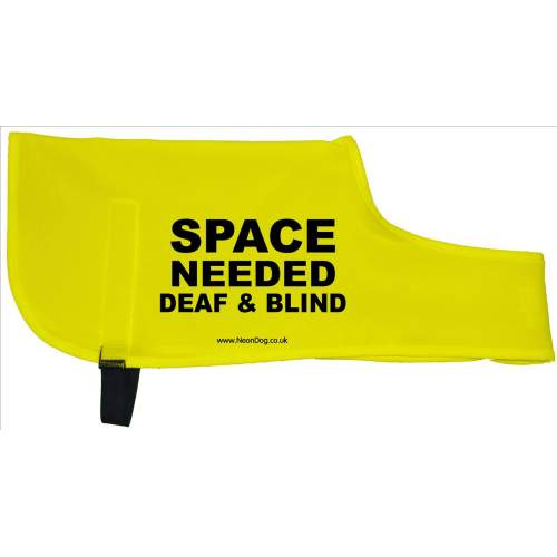 SPACE NEEDED DEAF AND BLIND - Fluorescent Neon Yellow Dog Coat Jacket