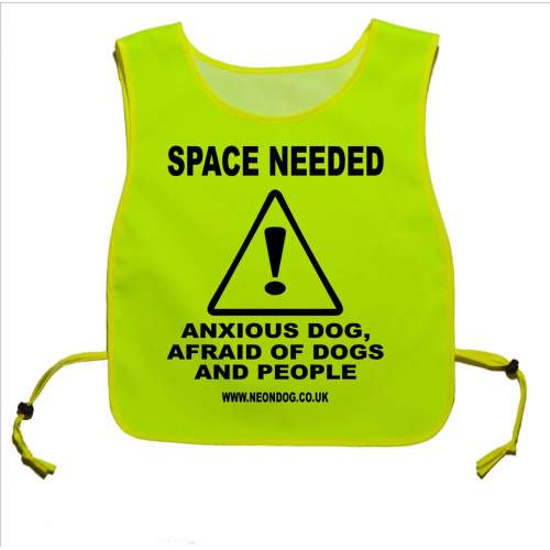 Space Needed anxious dog, afraid of dogs and people - Fluorescent Neon Yellow Tabard