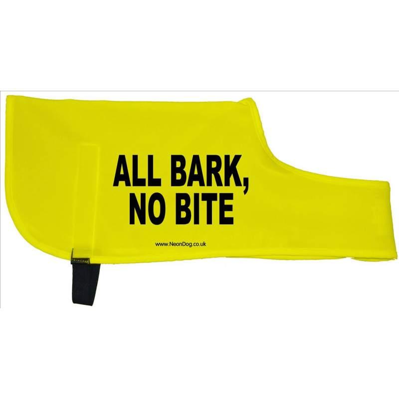 All Bark, No Bite - Please adopt me - Fluorescent Neon Yellow Dog Coat Jacket