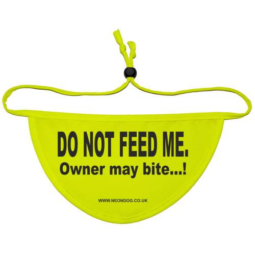 DO NOT FEED ME - Owner may bite...! - Fluorescent Neon Yellow Dog Bandana
