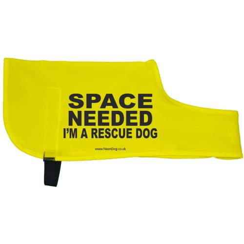 SPACE NEEDED I'M A RESCUE DOG - Fluorescent Neon Yellow Dog Coat Jacket