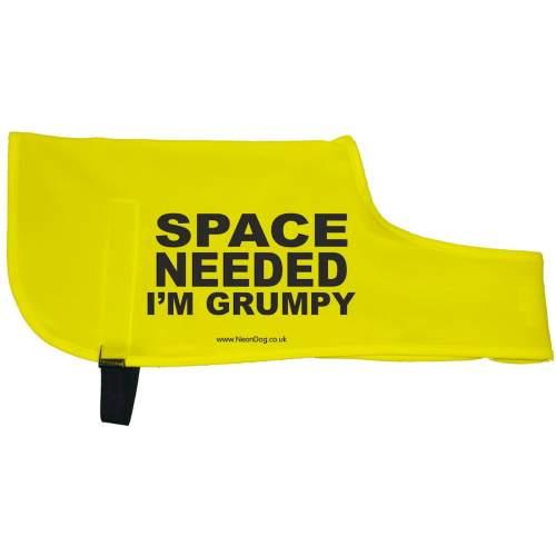 SPACE NEEDED I'M GRUMPY - Fluorescent Neon Yellow Dog Coat Jacket