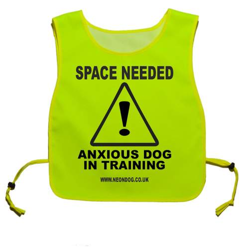 Space Needed Anxious Dog In Training - Fluorescent Neon Yellow Tabard