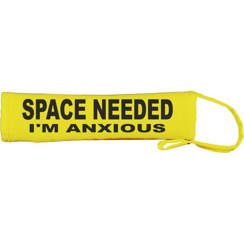 SPACE NEEDED I'M ANXIOUS - Fluorescent Neon Yellow Dog Lead Slip