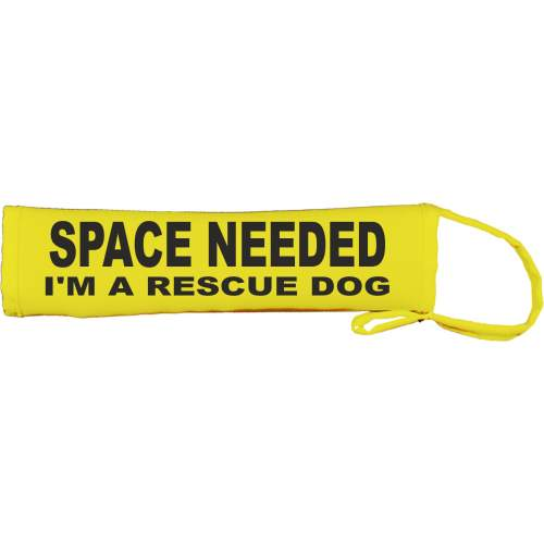 SPACE NEEDED I'M A RESCUE DOG - Fluorescent Neon Yellow Dog Lead Slip