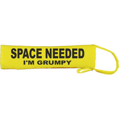 SPACE NEEDED I'M GRUMPY - Fluorescent Neon Yellow Dog Lead Slip
