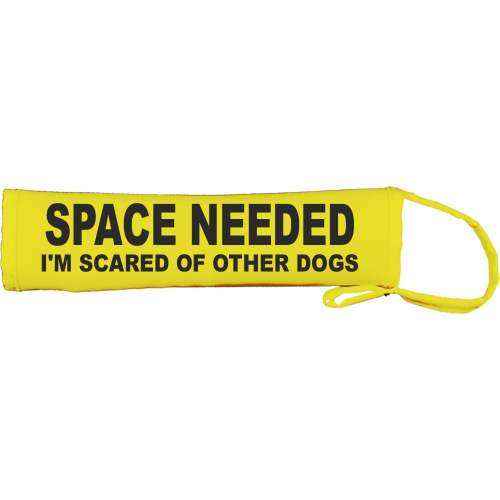 SPACE NEEDED I'M SCARED OF OTHER DOGS - Fluorescent Neon Yellow Dog Lead Slip