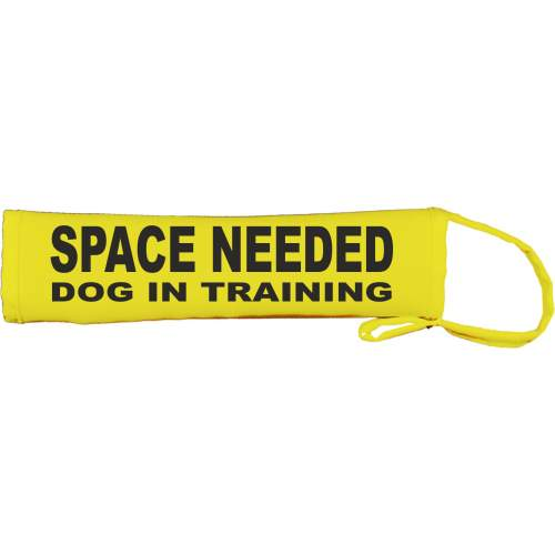 SPACE NEEDED DOG IN TRAINING- Fluorescent Neon Yellow Dog Lead Slip