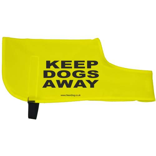 KEEP DOGS AWAY - Fluorescent Neon Yellow Dog Coat Jacket