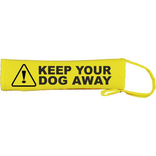 Caution KEEP YOUR DOG AWAY - Fluorescent Neon Yellow Dog Lead Slip