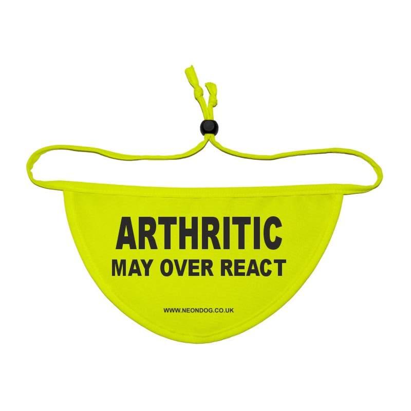 Arthritic - May over react - Fluorescent Neon Yellow Dog Bandana