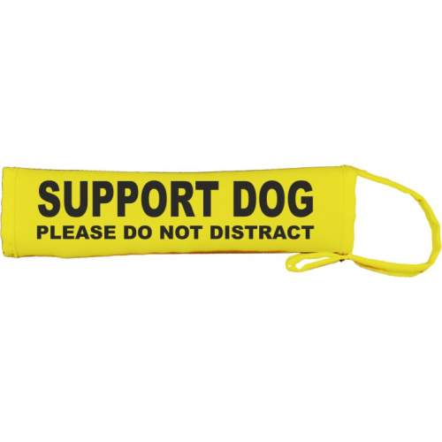 Support Dog please Do Not Distract - Fluorescent Neon Yellow Dog Lead Slip
