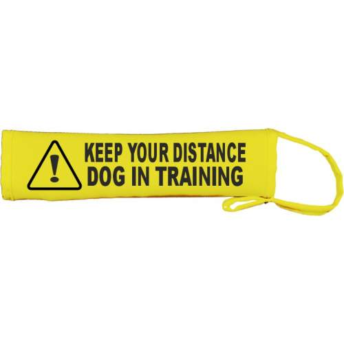 Warning: Keep Your Distance - Dog In Training - Fluorescent Neon Yellow Dog Lead Slip