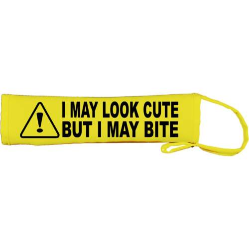 Warning! I May Look Cute But I May Bite - Fluorescent Neon Yellow Dog Lead Slip