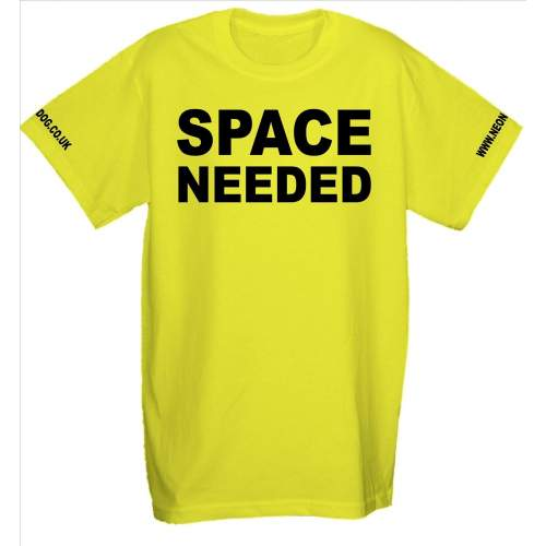 Space Needed - Fluorescent Neon Yellow Dog T- Shirt