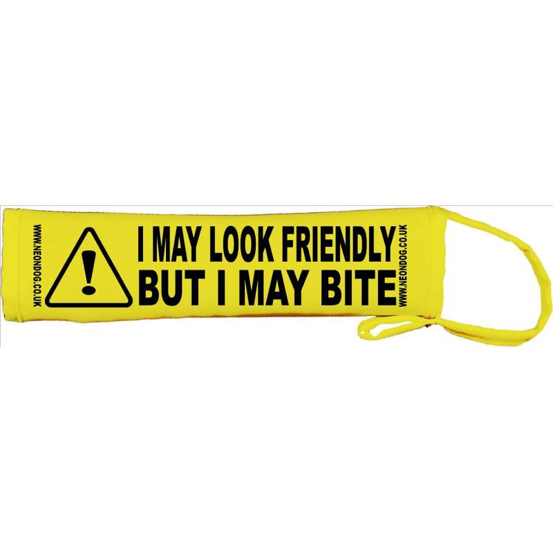 I May Look Friendly But I May Bite - Fluorescent Neon Yellow Dog Lead Slip