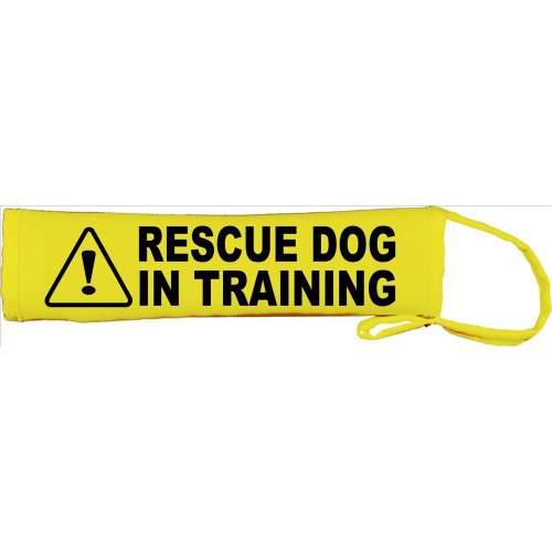 Caution Rescue Dog In Training - Fluorescent Neon Yellow Dog Lead Slip