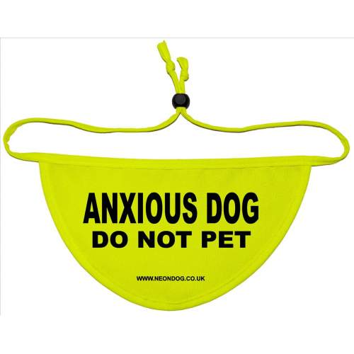 ANXIOUS DOG DO NOT PET - Fluorescent Neon Yellow Dog Bandana